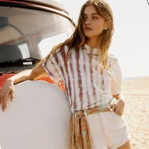 Free People Chill Spot T-Shirt Tie Dye White Small